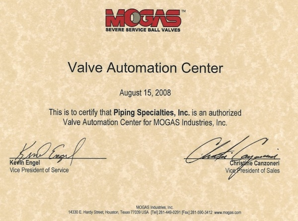 MOGAS Approved Valve Automation